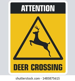 Vector Attention icon deer crossing sign. Image sticker road yellow deer crossing sign symbol inn flat style