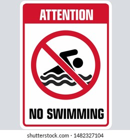 Vector attention Icon no swimming sign. Illustration round red no swimming sign symbol. Image no swim sign in flat style