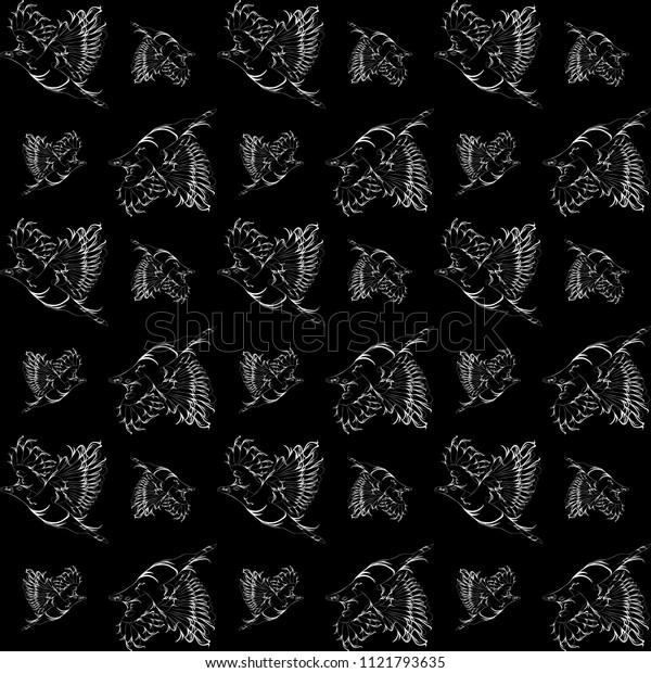 Vector black background with vintage white outline birds. For fabric or paper.