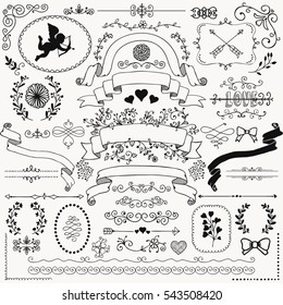 Vector Black Hand Sketched Rustic Floral Doodle Swirls, Branches, Design Elements. Decorative Corners, Dividers, Arrows, Scrolls, Ribbons. Hand Drawing Illustration. Pattern Brushes.