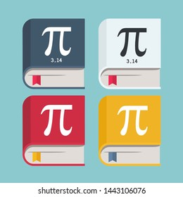 Vector book icon with a number pi symbol sign. The cartoon book is a mathematical value of Pi 3.14. Illustration book with pi number on cover in flat style