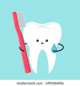 Vector Cartoon dental icon kawaii tooth with toothbrush. Image smile chibi tooth man with red toothbrush. Illustration emoji tooth with toothbrush in flat style