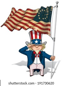 Vector Cartoon Illustration of Uncle Sam saluting and holding a Betsy Ross textured, aged American flag.