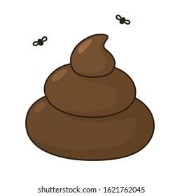 vector Cartoon poop icon. Image emoticon poop with face. Illustration cartoon poop in flat style