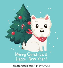 Vector Christmas icon animal dog west white terrier. Background dog breed West White Terrier on the background of Christmas tree. Illustration of Christmas pet puppy west white terrier in flat style