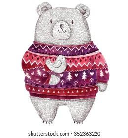 Vector Christmas illustration with Adorable cute little Bear. Stylish illustration
