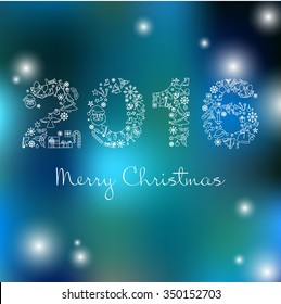 vector christmas and new year background happy new year vector card with line icons