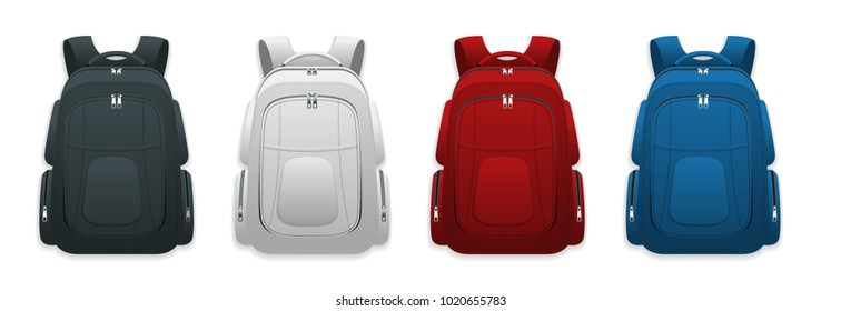 Vector Colorful School Backpacks. Backpacks for schoolchildren, students, travellers and tourists. Back to School rucksack flat illustrations isolated on white