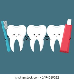 Vector Dental care icon kawaii tooth with toothbrush and toothpaste. Image smile chibi teeth man. Image emoji cartoon tooth in flat style