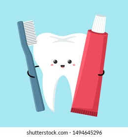 Vector Dental care icon kawaii tooth with toothbrush and toothpaste. Image  cartoon chibi tooth man. Illustration smile tooth in flat style