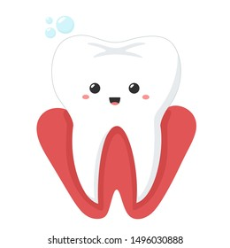 Vector Dental care medical icon kawaii tooth gum. Image cartoon chibi gum tooth. Illustration smile cartoon tooth in flat style