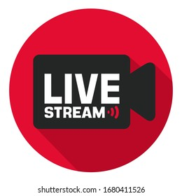 vector digital Icon Live  stream video. Image live stream camera. Illustration live online video stream in flat style