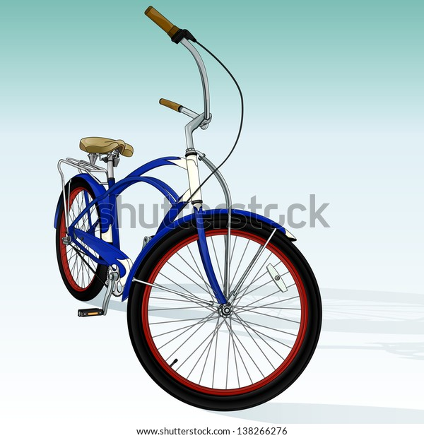 Vector drawing of a cruiser bike/ Cruiser bike/ Easy to edit vector file of a cruiser bike, gradients only used in the background, easy to edit layers