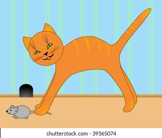 Vector drawing of a kitten and mouse.