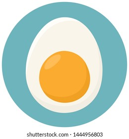 Vector Egg food icon. Background chicken boiled egg cartoon image. Illustration of eating eggs with yolk in flat style