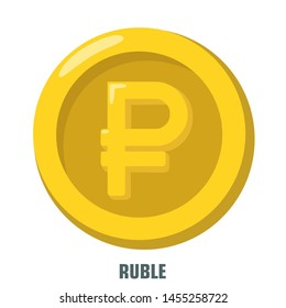 Vector Finance money icon gold ruble coin. Image Russian ruble coin. Illustration Russian currency rouble coin in flat style