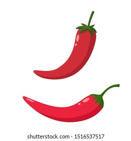 Vector Food icon chilli pepper. Image vegetable red hot chili pepper. Illustration cartoon chilli peppers in flat style