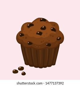 Vector Food Icon Muffin cake. Image bakery dessert chocolate muffin in flat style. Illustration chocolate cupcake