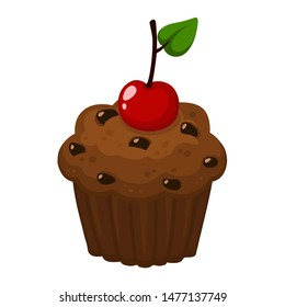 Vector Food Icon Muffin cake with cherry. Image bakery dessert chocolate muffin in flat style. Illustration chocolate cupcake with cherry