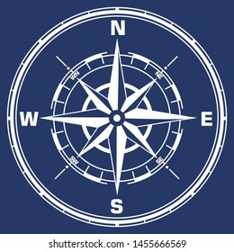 Vector geography science compass sign icon. Compass wind-rose illustration in flat minimalism style.
