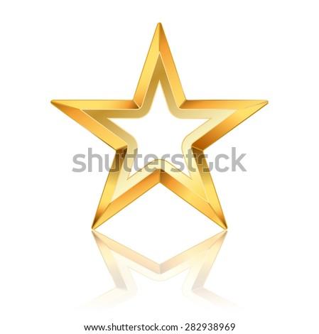 Vector Golden Star Frame On White Stock Illustration 282938969 ...