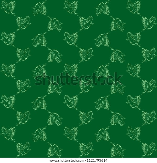 Vector green background with vintage contour birds. For fabric or paper.