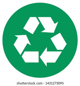 Vector green ecology arrows sign icon. Image Three green arrows with eco recycle. Illustration green recycle eco symbol in flat minimalism style.