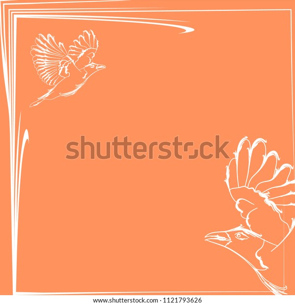 Vector greeting card with bird and crow in white on a pink background. Suitable for fabrics and holidays.