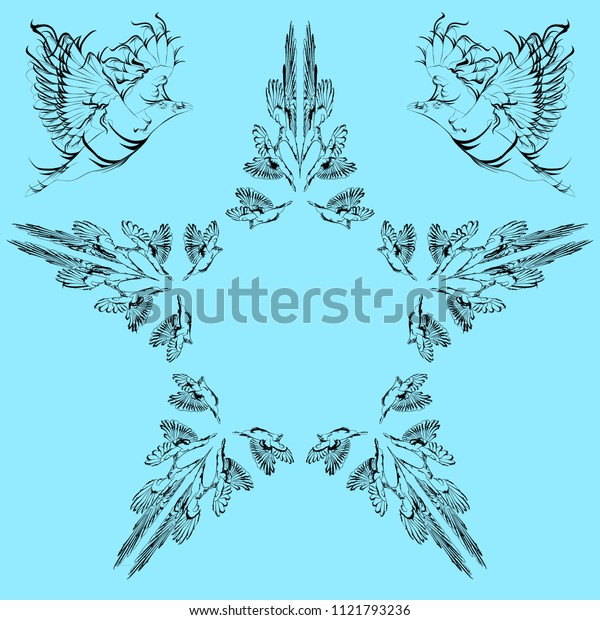Vector greeting card with birds and a star with your text. For holidays or banner design.