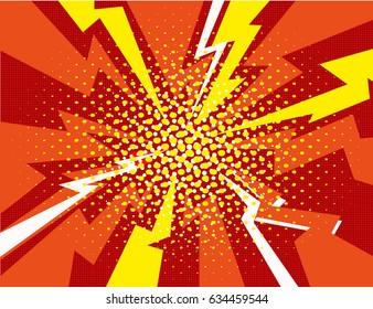 Vector halftone pop art comic style lightning  background dots