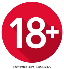vector icon 18 age restriction sign. Image 18+ attention symbol. Illustration 18+ sign in flat style