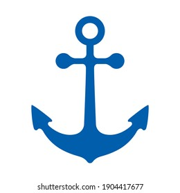 Vector icon of anchor in blue color. Sea mood.  Isolated on white background