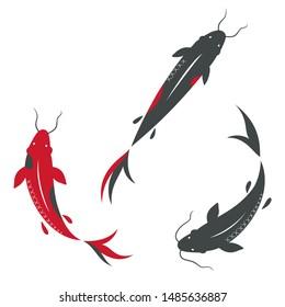 Vector Icon Asian carp koi fishes. Illustration traditional carp fish with hieroglyph. Image Chinese Japan carp koi fish in flat style