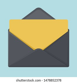 Vector icon black envelope. In the envelope is a card yellow color. Illustration of post envelope letter in flat style. Image open black envelope