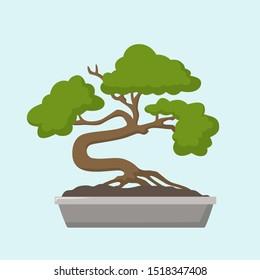Vector Icon bonsai tree. Image traditional Asian decorative tree. Illustration cartoon bonsai tree in flat style