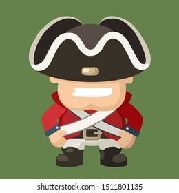 Vector Icon cartoon character north soldier of American Civil War. Illustration cartoon soldier in red uniform