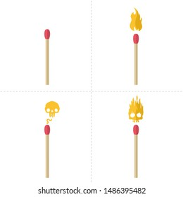 Vector Icon cartoon matches sticks set. Image match with fire and burning match stick art. Illustration matchstick in flat style