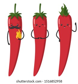 Vector Icon cartoon red chilli peppers. Image emoji kawaii smile chilli pepper characters. Illustration cartoon fun chilli peppers in flat style