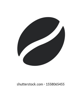 Vector Icon coffee bean sign. Image food coffee bean silhouette. Illustration coffee bean silhouette in flat style