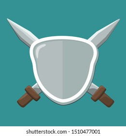 Vector Icon crossed swords and shield. Image of a knightly sword and shield.