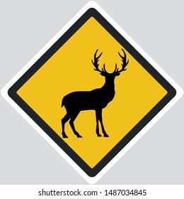 Vector Icon deer road yellow sign. Image deer symbol sticker. Illustration deer sign in flat style. Image deer road sign