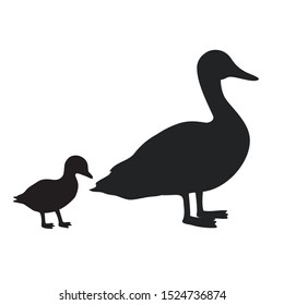 Vector icon duck with duckling. Image birds duck with duckling silhouette. Illustration animal duck with duckling in flat style
