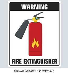 Vector Icon fire extinguisher sign. Illustration warning red fire extinguisher sign. Image fire extinguisher in flat style