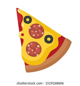 vector Icon food pizza. Image cartoon slice of pizza. Illustration pizza in flat style