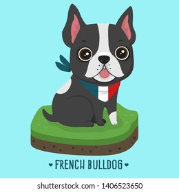 Vector icon french bulldog dog. Dog character puppy french bulldog. Illustration character dog bulldog sitting on nature. Puppy frenchie bulldog in flat minimalism style.