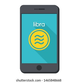 Vector icon gold facebook coin libra in phone. Picture cartoon cryptocurrency money coin Libra. Illustration of blockchain digital money coin currency libra in flat minimalism style.