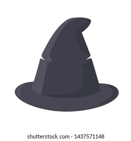 Vector icon Halloween witch hat. Cartoon background black cone witch hat. Illustration of old witch hat