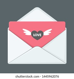 Vector icon love letter envelope. Image cartoon white envelope with pink love letter. Illustration love mail letter in flat style