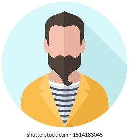 Vector Icon man with a beard in a yellow jacket and striped t-shirt. Image hipster man avatar. Illustration human people  man avatar in flat style