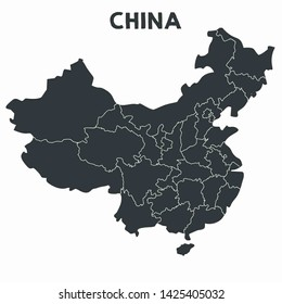 Vector icon map of China. China map background with provinces borders. Illustration Asia map of China in black color in a flat style.